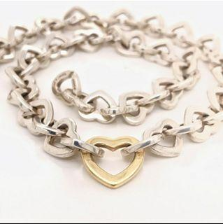 Authentic Tiffany and Co Two Tone Heart Link Necklace