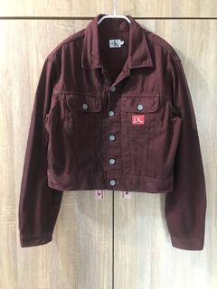 Calvin Klein ck jeans日本製 紅咖啡 寬鬆短版 騎士外套 牛仔外套 男友風 oversize vintage