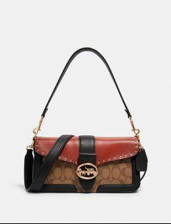 Coach Georgie Shoulder Bag In Signature Canvas With Rivets