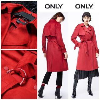Coat Red Long Fit to L Suede