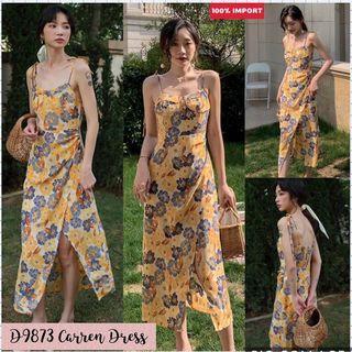 D9873 Carren Yellow Flower Slit Dress import dress vintage dress tanktop dress bangkok