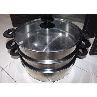 Dandang / Kukusan 3 Susun Merk Jawa Plus Tutup Kaca (Second like New) NETT
