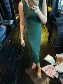 Dark green cotton dress