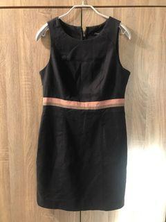 forever 21 春夏 背心裙 無袖洋裝 復古高腰 彈性修身曲線 女 M 粉紅+灰撞色條紋