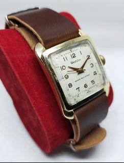 Jam Tangan Westclox Tank Manual Winding Swiss Vintage Gold Plated Leather Strap