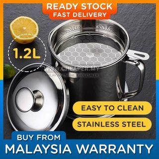 ⭐LOCAL STOCK⭐ Large Capacity 1.2L 304 410 Stainless Steel Oil Pot with Filter Minyak Storage Grease Strainer Container