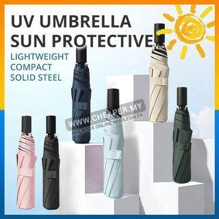 ⭐LOCAL STOCK⭐Umbrella UV Fashion Automatic Dual Use Open Close Pole Foldable Windproof handed Hujan Payung Rain Umbrella
