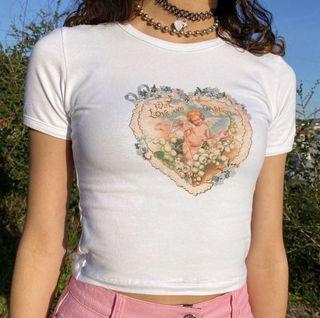 MINGA LONDON 愛心天使白色短袖T恤貼身