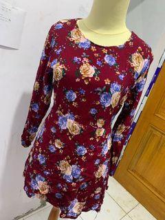MINI DRESS FLOWER MAROON