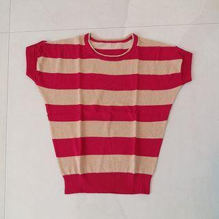 Red gold stripe knit