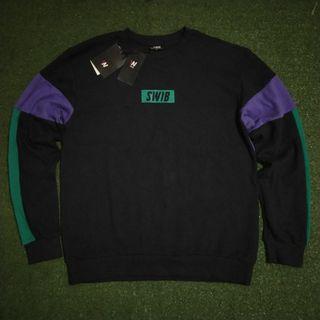 SWIB Korea 3 Tone Crewneck Sweater Sweatshirt Original Black Navy Blue Polos Hitam Biru Dongker