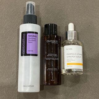 (TAKE ALL) Cosrx BHA Blackhead Power Liquid / IUNIK Propolis Vitamin Synergy Serum / AVOSKIN MIRACULOUS RETINOL TONER