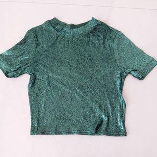 Topshop green glitter top