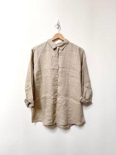 Uniqlo 大地色系亞麻襯衫