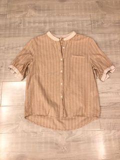 韓版亞麻棉短袖襯衫