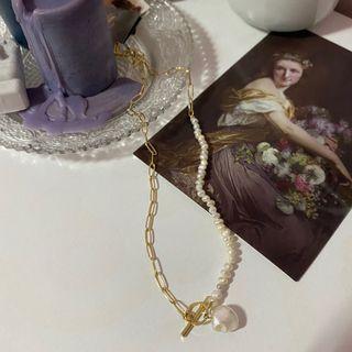 金色鍊條珍珠項鍊