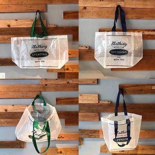 🇺🇸 環保透明編織購物袋 熱賣款 評價高 買菜袋 防水 可水洗 耐用 耐重 國外超市袋