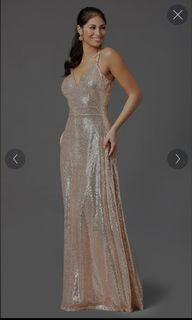 Blush sequin floor length gown open back