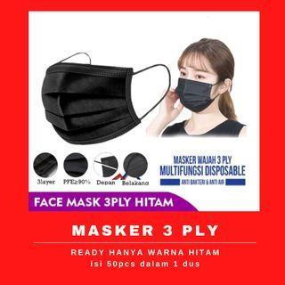 masker 3ply 50pcs hitam