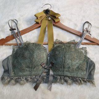 Olive Green Lace Bra