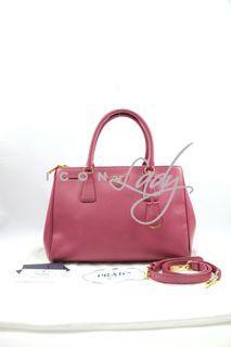 Prada BN1801 Saffiano Lux 深玫瑰粉紅色 ( Bruyere) 皮革 手提袋 肩背袋 手袋