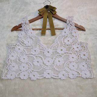 White Crochet Crop Top Cover