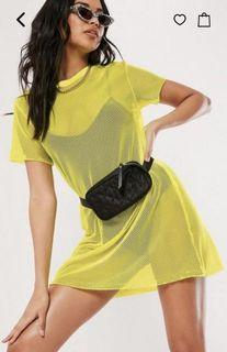 Yellow Oversized Fishnet T Shirt