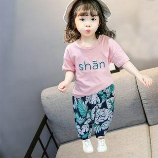 2021新款夏季女童兩件套裝 短袖t恤 女寶寶七分褲刺繡 兒童套裝
