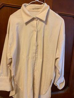米白燈芯絨長袖襯衫