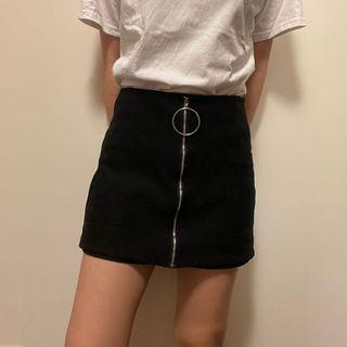 前面假拉鍊圈圈黑色冬天的A字褲裙