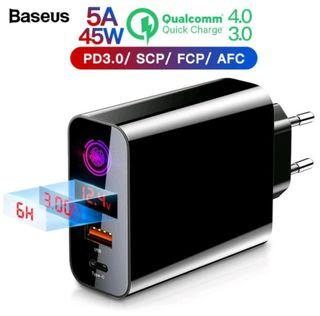 Baseus Charger PPS 45 W Smart Timer Auto Shutdown Support Quick Charge 3.0, Quick Charge 4.0, Power Delivery 3.0