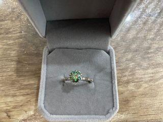 Sparkling Peacock Green Moissainte 925K Silver Ring - Adjustable