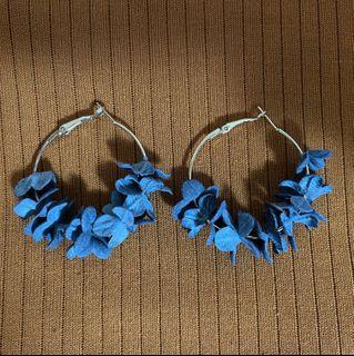 Blue Floral Hoop Earrings