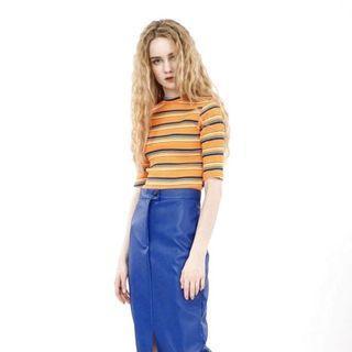 Cereal ::: 百搭撞色彩條復古彈性短袖合身上衣