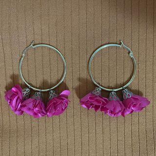 Fuschia Floral Hoop Earrings