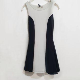 H&M Illusion Dress in Black and White (XS)