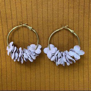 Lavender Floral Hoop Earrings