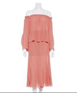 Lily brwon 乾燥玫瑰粉雪紡洋裝set