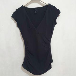 MANGO Fitted Top w/ Side Ruching in Black (S)