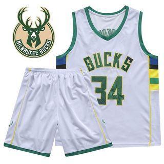 NBA Milwaukee Bucks 34 Original Jersey Terno Tops Sleeveless and Shorts Sport Pants Men Clothes Unisex 2/pcs