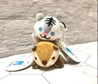 日本大阪NIFREL河狸白老虎手機吊飾擦拭螢幕玩偶