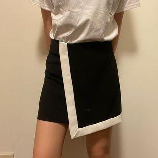 黑白色OL A字裙