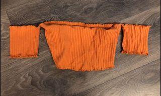 Orange Off shoulder crop top