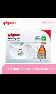Pigeon feeding set with training cup perlengkapan makan bayi