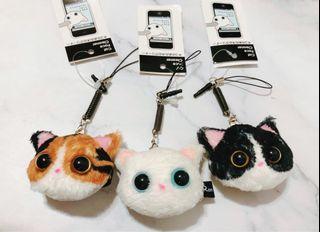 日本RonRon超萌貓咪手機吊飾螢幕擦拭布玩偶