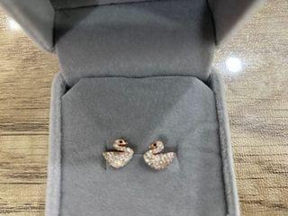 Swarovski Inspired Swan Earrings in Rose Gold - 0.8cm