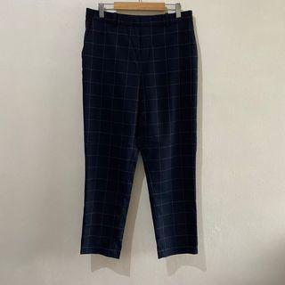 Uniqlo Navy Checkered Ezy Ankle Pants