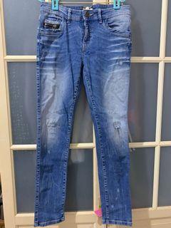 Zara低腰緊身牛仔褲38號刷白微破洞