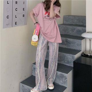 粉紅色渲染壓紋落地褲