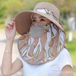 全新《舒適網格透氣-卡其色》涼帽太陽帽百搭大檐採茶面罩女防曬帽防紫外線夏季遮陽帽騎車遮臉#集氣